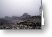 Lighthouse Artwork Greeting Cards - Old Scituate Lighthouse Greeting Card by Skip Willits