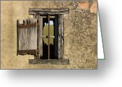 Cabin Window Greeting Cards - Old shack Greeting Card by Bernard Jaubert