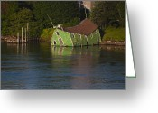 Roger Lewis Greeting Cards - Old Shack Sinking  Greeting Card by Roger Lewis