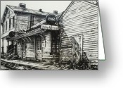 Dilapidated Drawings Greeting Cards - Old Shawneetown Greeting Card by Michael Lee Summers