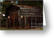 Weathervane Greeting Cards - Old Shed Oakhurst Greeting Card by Marjorie Imbeau