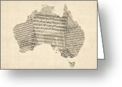 Australia Map Greeting Cards - Old Sheet Music Map of Australia Map Greeting Card by Michael Tompsett