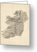Sheet Music Digital Art Greeting Cards - Old Sheet Music Map of Ireland Map Greeting Card by Michael Tompsett