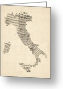 Music Score Digital Art Greeting Cards - Old Sheet Music Map of Italy Map Greeting Card by Michael Tompsett