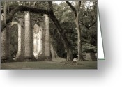 Mason Greeting Cards - Old Sheldon Church Greeting Card by Scott Hansen