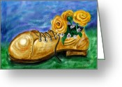 Boot Greeting Cards - Old Shoe Planter Greeting Card by David Kyte