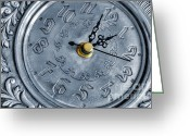 Minute Greeting Cards - Old silver clock Greeting Card by Carlos Caetano