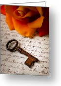 Rust Greeting Cards - Old Skeleton Key On Letter Greeting Card by Garry Gay