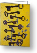 Peeling Greeting Cards - Old Skeleton Keys Greeting Card by Garry Gay