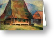 "\""small House\\\"" Greeting Cards - Old Small House Greeting Card by Arthur Braginsky"