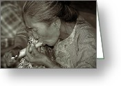 Burma Greeting Cards - Old smoker woman Greeting Card by RicardMN Photography