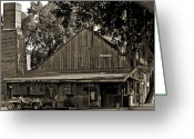 Mail Box Photo Greeting Cards - Old Spanish Sugar Mill Old Photo Greeting Card by DigiArt Diaries by Vicky Browning