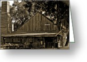 Mail Box Photo Greeting Cards - Old Spanish Sugar Mill Sepia Greeting Card by DigiArt Diaries by Vicky Browning
