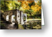 Kettle Greeting Cards - Old Spring House Color Greeting Card by Scott Norris