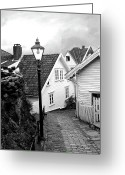 Cobblestones Greeting Cards - Old Stavanger II Greeting Card by Helene Sobol
