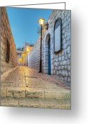 Entrance Door Greeting Cards - Old Stone Alleyway With Electric Lights Greeting Card by Noam Armonn