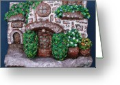 Brick Sculpture Greeting Cards - Old Stone House Greeting Card by Alison  Galvan