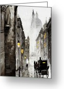 Reflection Greeting Cards - Old Street Greeting Card by Yuriy  Shevchuk