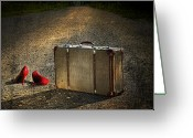 Suitcase Greeting Cards - Old suitcase with red shoes left on road Greeting Card by Sandra Cunningham