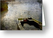 Sink Greeting Cards - Old sunken boat. Greeting Card by Bernard Jaubert