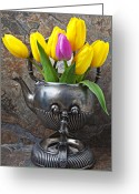 Old Wall Greeting Cards - Old tea pot and tulips Greeting Card by Garry Gay