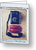 Gossiping Greeting Cards - Old telephone and red lips Greeting Card by Garry Gay