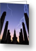 Asia Greeting Cards - Old Temple With Thunderbolt Greeting Card by Setsiri Silapasuwanchai