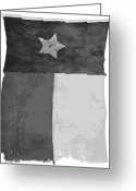 Live Music Greeting Cards - Old Texas Flag BW10 Greeting Card by Scott Kelley