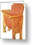 Warm Reliefs Greeting Cards - Old Theatre Chair Greeting Card by Neda Laketic
