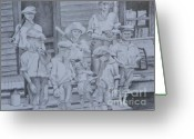 City Of Water Drawings Greeting Cards - Old Time Baseball Greeting Card by David Ackerson