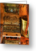 Red And Tea Greeting Cards - Old Time Cash Register - General Store - vintage - nostalgia  Greeting Card by Lee Dos Santos