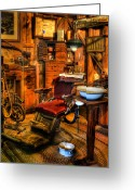 Work Lamp Greeting Cards - Old Time Dentist II -  dentistry - dentist chair -  surgery - The Dentist Chair - Office Greeting Card by Lee Dos Santos