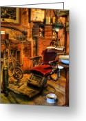 Work Lamp Greeting Cards - Old Time Dentist Office -  dentistry - dentist chair -  surgery - Dentist Chair IV Greeting Card by Lee Dos Santos