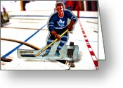 Vintage Hockey Player Greeting Cards - Old Time Hockey Greeting Card by Nathan  Brend