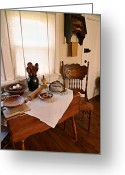 Wooden Ware Greeting Cards - Old Time Kitchen Table Greeting Card by Carmen Del Valle
