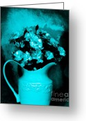 Pitcher Greeting Cards - Old Time Pitcher Bouquet Greeting Card by Marsha Heiken