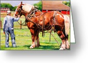 Red Barn Greeting Cards - Old Timers Greeting Card by Toni Grote
