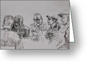 Coffee Drawings Greeting Cards - Old-Timers  Greeting Card by Ylli Haruni