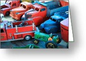 1949 Plymouth Greeting Cards - Old Tin Toys Greeting Card by Steve McKinzie