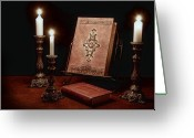 Novel Greeting Cards - Old Tome Still Life III Greeting Card by Tom Mc Nemar