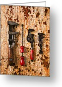 Crack Pipe Greeting Cards - Old tools on rusty counter  Greeting Card by Garry Gay