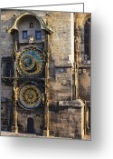 Large Clock Greeting Cards - Old Town Hall Clock Greeting Card by Jeremy Woodhouse