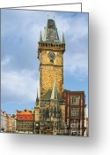 Hall Greeting Cards - Old Town Hall Prague CZ Greeting Card by Christine Till