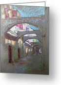 Rhodes Greece Greeting Cards - Old Town in Rhodes  Greece Greeting Card by Ylli Haruni