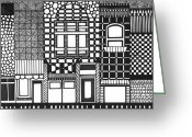 Streets Drawings Greeting Cards - Old Town Greeting Card by Rhiana Lynn