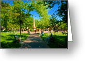 Santa Fe Digital Art Greeting Cards - Old Town Square Santa Fe Greeting Card by David Lee Thompson