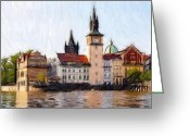 River Pastels Greeting Cards - Old Town Greeting Card by Stefan Kuhn