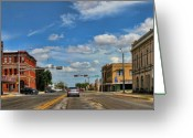 Asphalt Digital Art Greeting Cards - Old Town Taylor Intersection Greeting Card by Linda Phelps