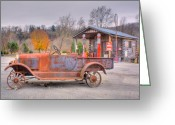 Arkansas Greeting Cards - Old Truck and Gas Filling Station Greeting Card by Douglas Barnett