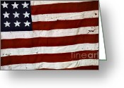 Stripes Greeting Cards - Old USA flag Greeting Card by Carlos Caetano